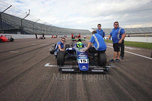 James Pull on the British F4 grid at Rockingham, August 2016