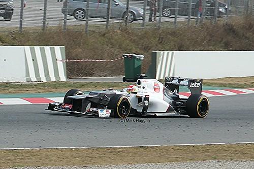 Sergio Perez in his Sauber at Formula One Winter Testing, Circuit de Catalunya, March 2012