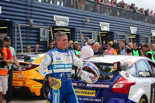Jason Plato arrives in Parc Ferme after his third place at Rockingham, August 2016