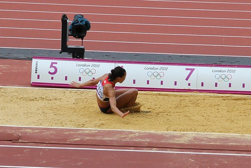 Louise Hazel of Team GB in the long jump during the heptathlon at the London 2012 Olympics