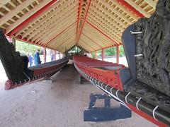 Maori war canoes at Waitangi