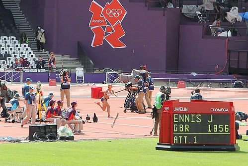 Jessica Ennis of Team GB throws a javelin during the hepthalon in the London 2012 Olympics