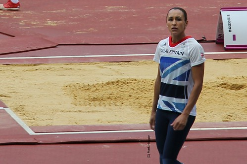 Jessica Ennis prepares for the Long Jump as part of the London 2012 Olympic heptathlon