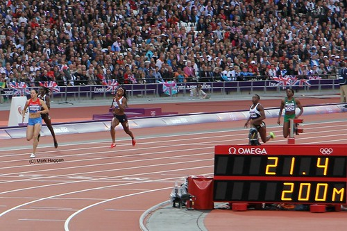 The end of a heat for the 200m at the London 2012 Olympics