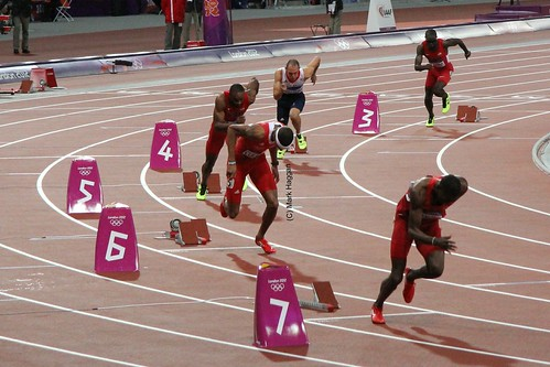 Dai Greene of Team GB starts the 400m hurdles final at the London 2012 Olympics