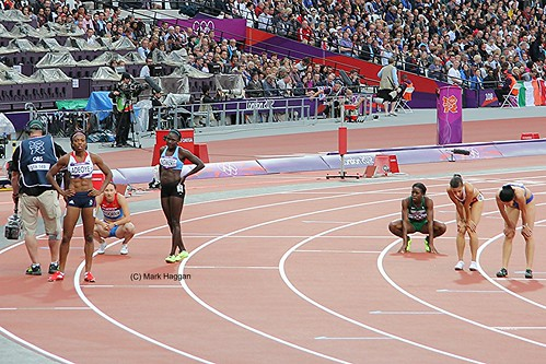 Margaret Adeoye of Team GB and the other athletes in the heat of the 200m at the London 2012 Olympics