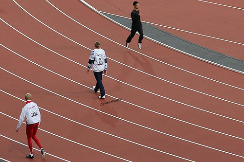 Ben Rushgrove of Team GB and Marcin Mielczarek of Poland ahead of the T36 200m final at the London 2012 Paralympic Games