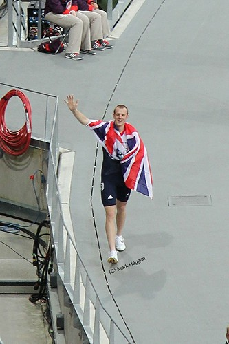Ben Rushgrove of Team GB celebrates his bronze medal in the T36 men's 200m at the London 2012 Paralympic Games