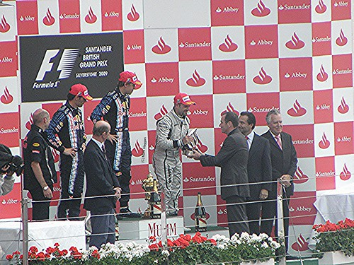 The podium celebrations after the 2009 British Grand Prix
