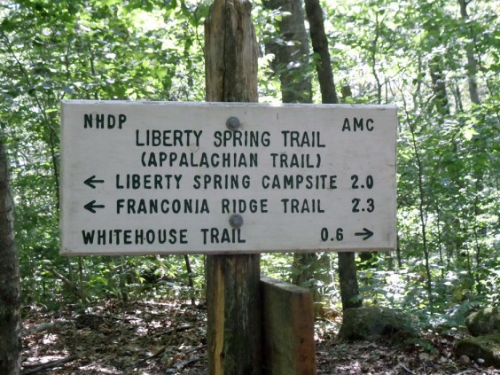 Liberty Spring Trail Sign on the New Hampshire Appalachian Trail