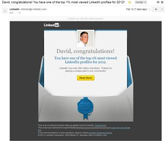 LinkedIn One Percent Most Viewed Profiles Email