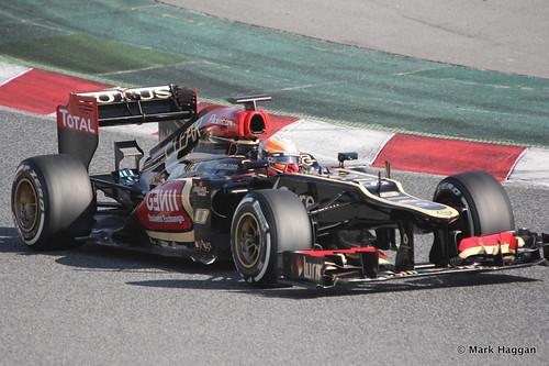 Romain Grosjean in his Lotus at Formula One Winter Testing, March 2013
