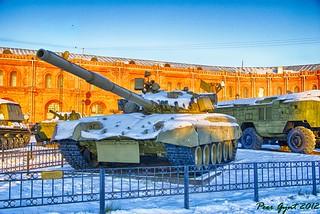 Russian Tank T-80 with Gas Turbine Еngine. Тан...