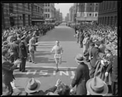 Johnny Kelley finishing the 1940 B.A.A. Marathon
