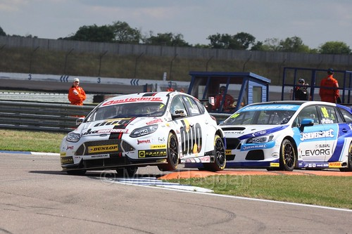 Mat Jackson leads Jason Plato at Rockingham, August 2016