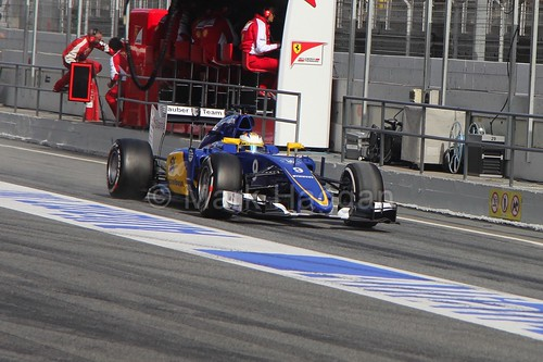 Marcus Ericsson in his Sauber in Formula One Winter Testing 2015
