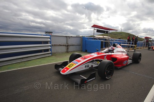 Nicolai Kjærgaard after the final British Formula Four race during the BTCC Knockhill Weekend 2016