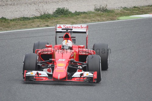 Sebastian Vettel in the Ferrari in Formula One Winter Testing 2015