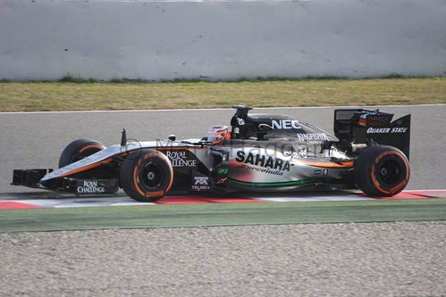 Nico Hulkenberg in the Force India in Formula One Winter Testing 2015