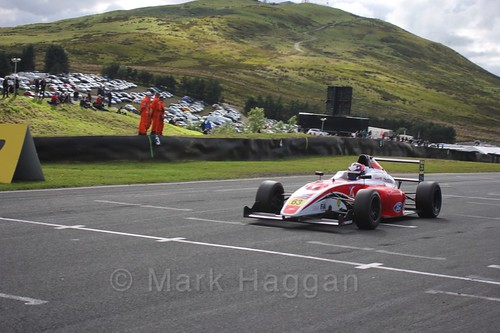 Nicolai Kjærgaard in the final British Formula Four race during the BTCC Knockhill Weekend 2016