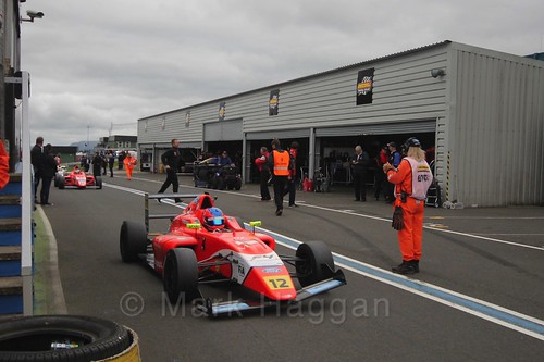 Ayrton Simmons after British Formula Four race 2 during the BTCC Knockhill Weekend 2016