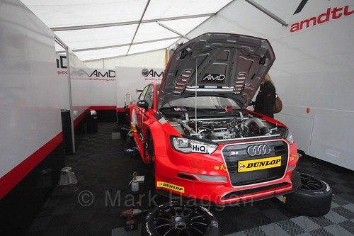 The AmD Tuning garage during the BTCC weekend at Knockhill, August 2016