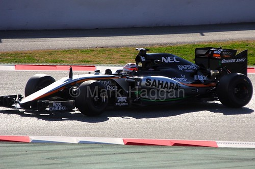 Nico Hulkenberg in his Force India at Formula One Winter Testing 2015