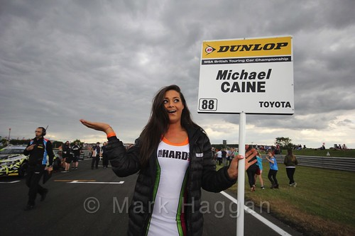 Michael Caine's pit board during the Grid Walks at the BTCC 2016 Weekend at Snetterton