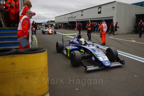 Max Fewtrell after British Formula Four race 2 during the BTCC Knockhill Weekend 2016