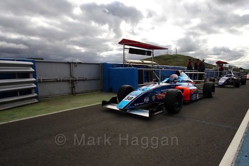 Jamie Caroline after the final British Formula Four race during the BTCC Knockhill Weekend 2016