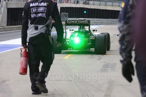 Nikita Mazepin in the Force India during Formula One In Season Testing at Silverstone, July 2016