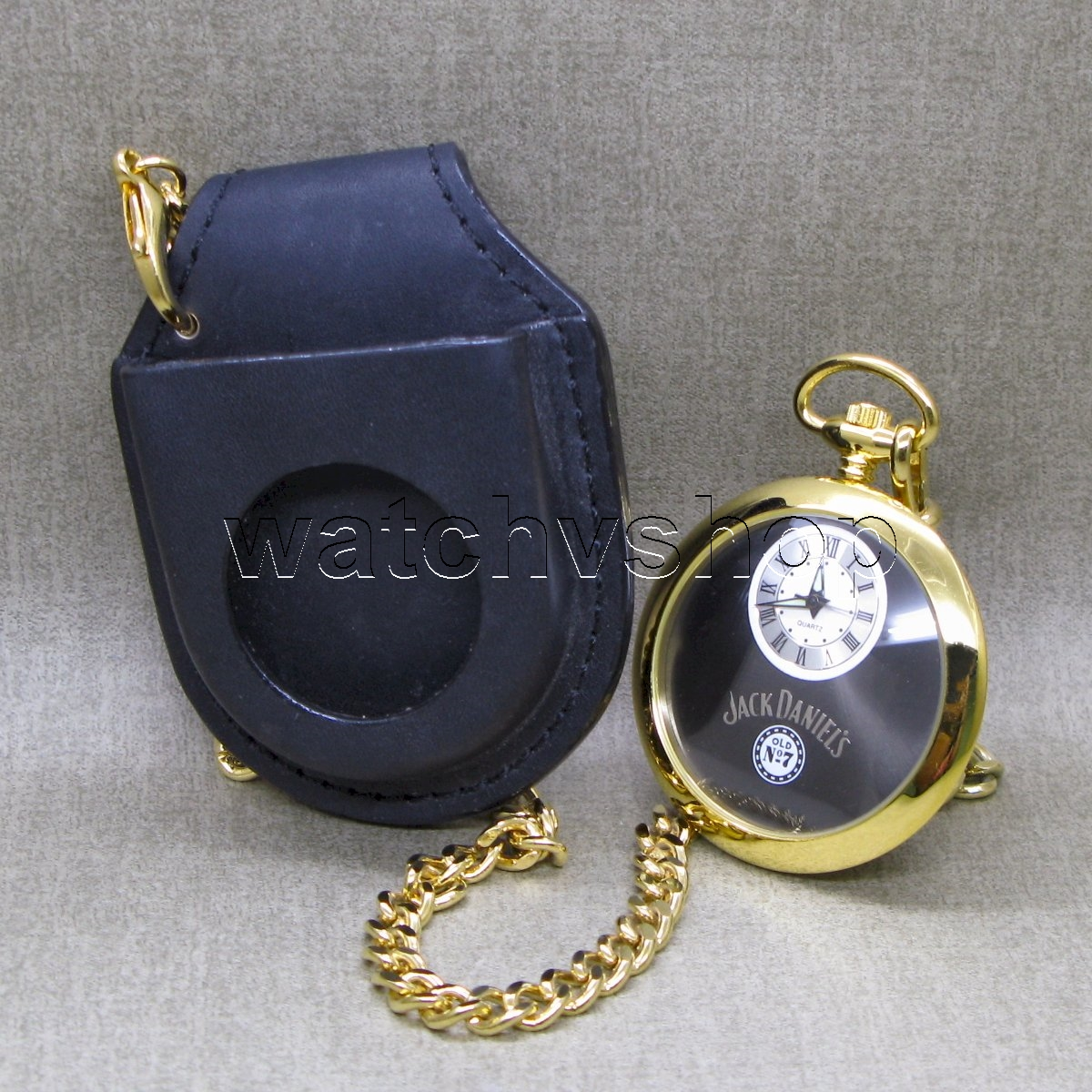 Jack Daniels Limited Old No 7 Pocket Watch With Leather Pouch Gold Men T P250