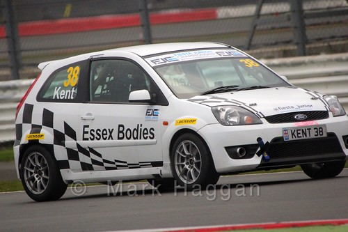Lewis Kent in the BRSCC Fiesta Junior Championship at Silverstone, April 2015