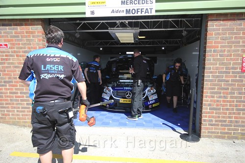 Aiden Moffatt's car in the garage at the BTCC 2016 Weekend at Snetterton