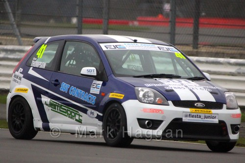 Aaron Thompson in the BRSCC Fiesta Junior Championship at Silverstone, April 2015