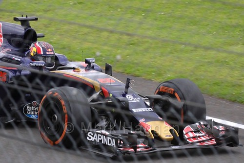 Daniil Kvyat drives down the pit lane entrance in his Toro Rosso in Free Practice 1 at the 2016 British Grand Prix at Silverstone