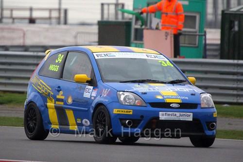 Michael Higgs in the BRSCC Fiesta Junior Championship at Silverstone, April 2015