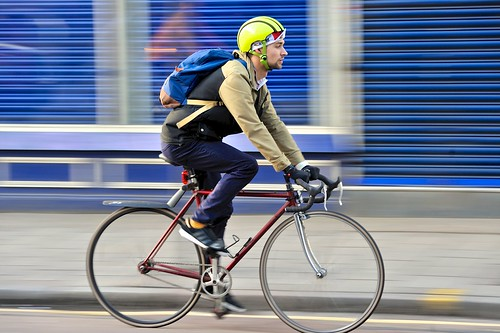 street city blue winter urban motion london cycling... (Photo: jeremyhughes on Flickr)