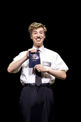 """A.J. Holmes in the Broadway Sacramento presentation of """"The Book of Mormon"""" at the Sacramento Community Center Theater March 9 – 20, 2016.  Photo by Johan Persson."""