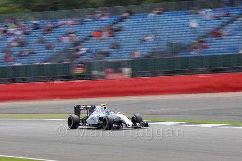 Valtteri Bottas in his Williams during Free Practice 2 at the 2016 British Grand Prix