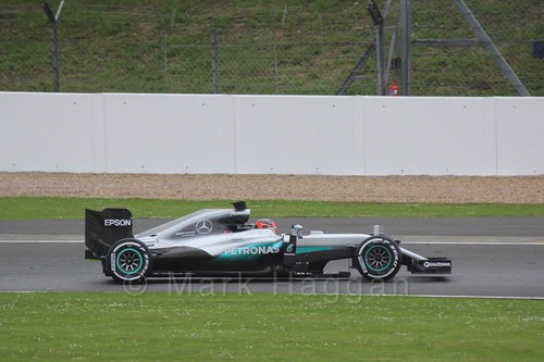 Esteban Ocon driving for Mercedes during Formula One In Season Testing at Silverstone, July 2016