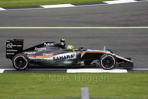 Sergio Perez in his Force India during Free Practice 1 at the 2016 British Grand Prix