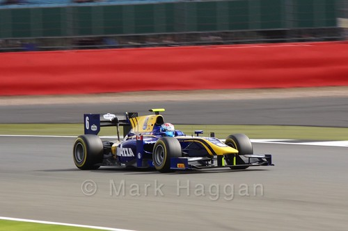 Nicholas Latifi in the DAMS car in GP2 Qualifying at the 2016 British Grand Prix