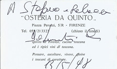 1998 05 13 Florence Osteria da Quinto business card