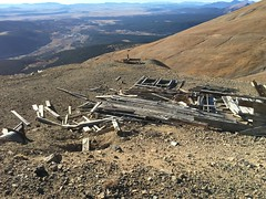 Old mining site with Alma, Colorado off in the distance.