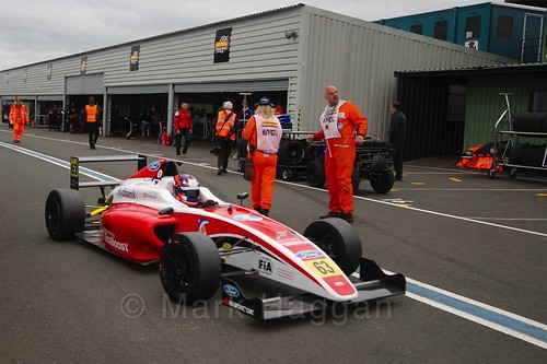 Nicolai Kjærgaard after British Formula Four race 2 during the BTCC Knockhill Weekend 2016