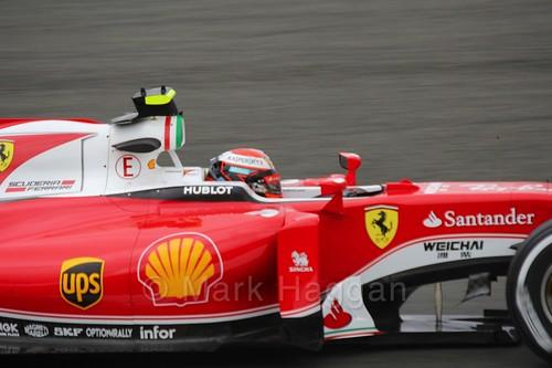Kimi Raikkonen in his Ferrari in Free Practice 1 at the 2016 British Grand Prix