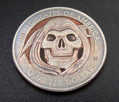 """'Grim Reaper' Clad coin carving • <a style=""""font-size:0.8em;"""" href=""""http://www.flickr.com/photos/72528309@N05/17912578466/"""" target=""""_blank"""">View on Flickr</a>"""