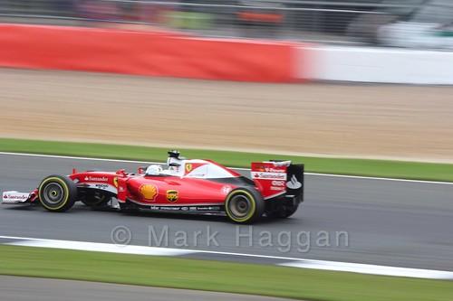 Sebastian Vettel in his Ferrari in qualifying at the 2016 British Grand Prix