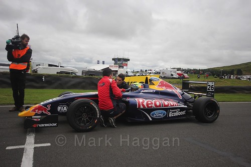 Luis Leeds on the grid for the second British Formula Four race at the Knockhill BTCC Weekend, August 2016